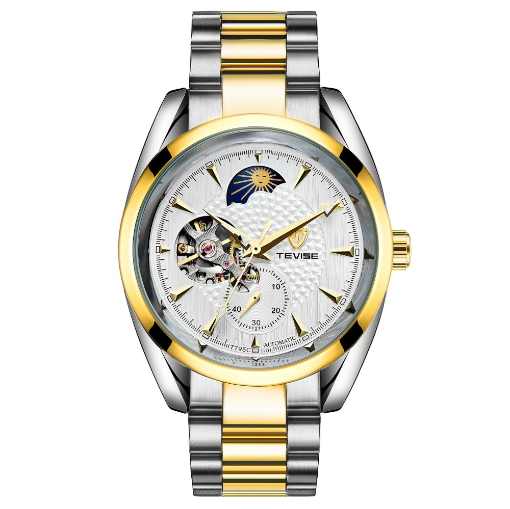 TEVISE Moon Phase Men Skeleton Gold Watch Automatic Mechanical Mens Watches Waterproof Self-winding Clock Stainless Steel Reloj tevise men automatic self wind mechanical wristwatches business stainless steel moon phase tourbillon luxury watch clock t805d