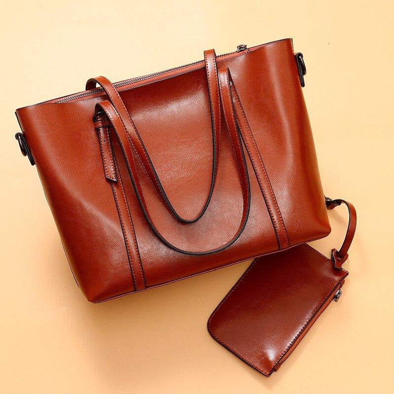 Naiste nahast käekotid kvaliteetne õlakott Naine Top-käepide kotid - Käekotid - Foto 3