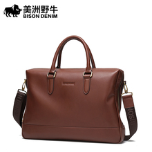 BISON DENIM Brand Handbag Genuine Leather Men Briefcases Tote Laptop Bags Men's Messenger Bag Business Travel Shoulder Bags