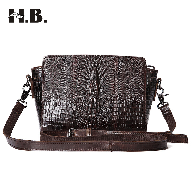 HIBO Women Bags Saffiano Messenger Bag Genuine Leather Vintage Cross body Shoulder Bag Ladies Hand Bags Small Flap Crocodile