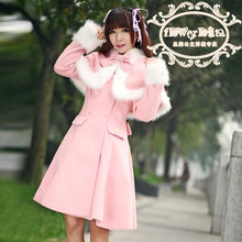 Hot Koop Japan Mooie Wol Hooded Zoete Lolita Jas Meisjes Winter Jassen Merk Lange Winter Trenchcoat(China)
