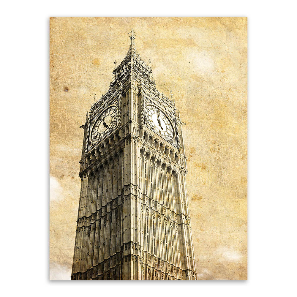 Triptych Vintage Retro Travel Pairs London City Eiffel Tower Art ...