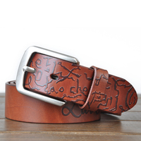 Top Brand Luxury 100 Genuine Leather Men S Belts Casual Design Letter Style Mens Hollow Ventilate