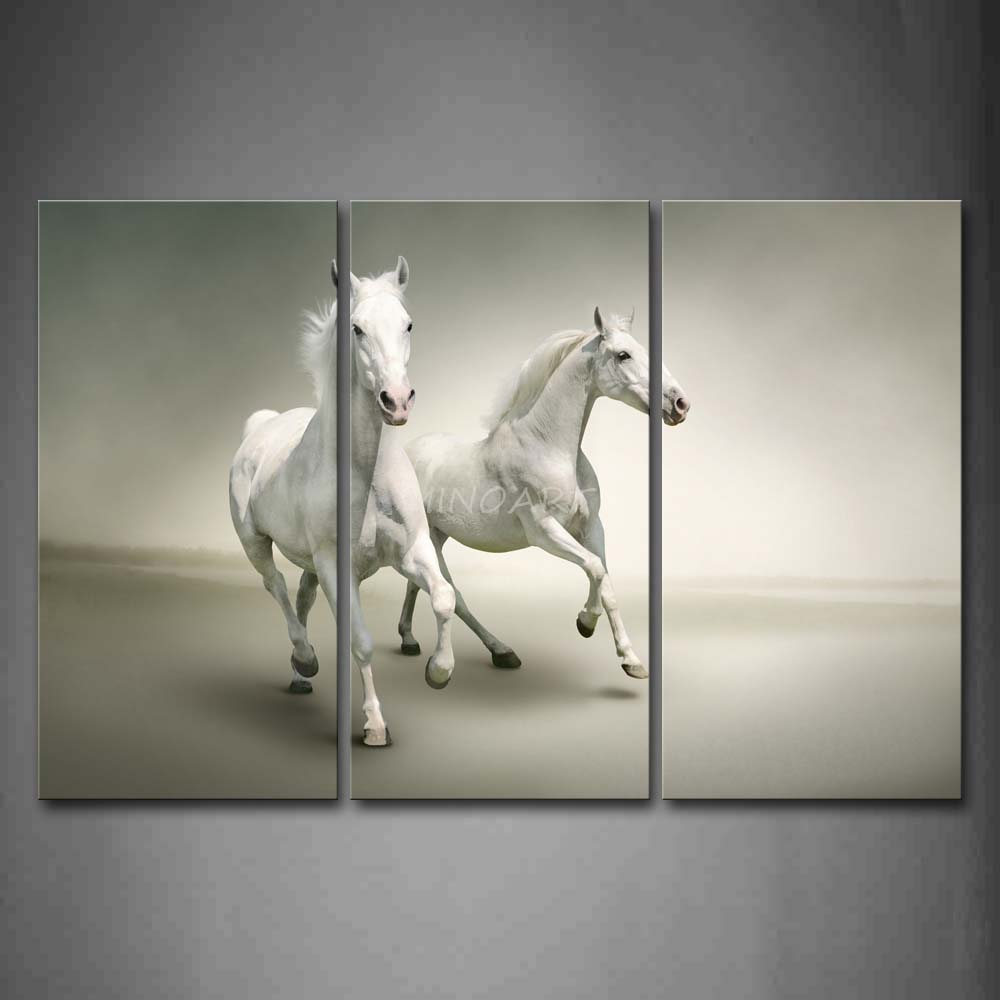 3 Piece Wall Art Painting Two White Horse Are Running On Gray Background Print Canvas The Picture Animal 4 Pictures In Calligraphy From Home