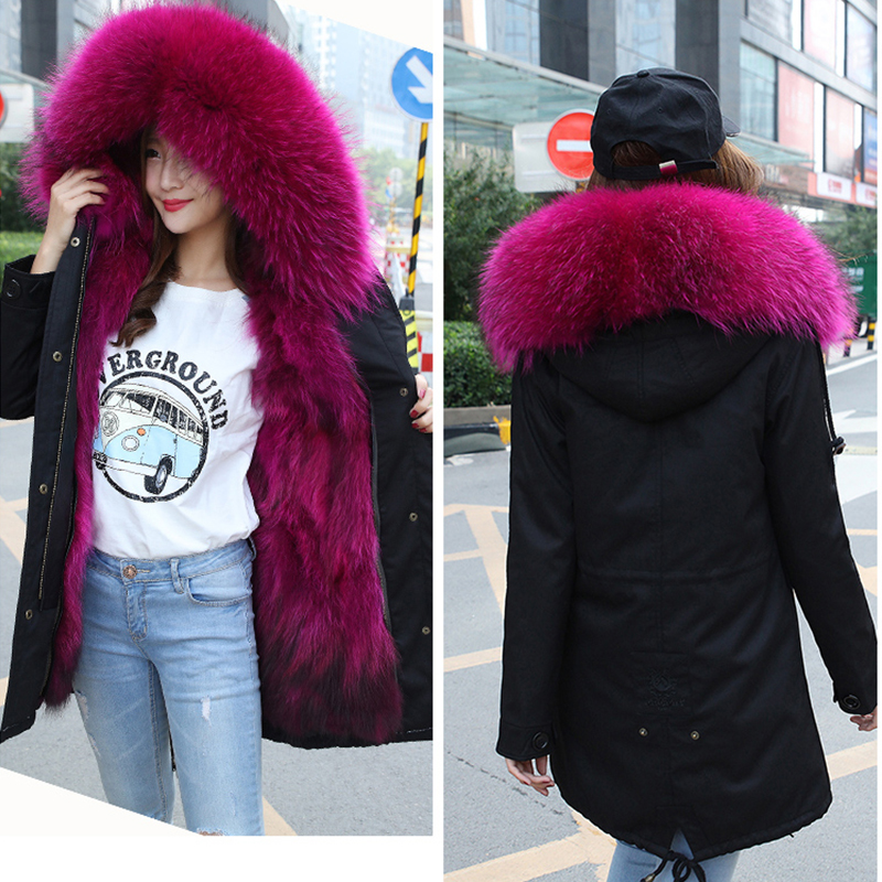 You Come From The Stars With A Fox Raccoon Fur Coat Liner Female Knee Paragraph Long Section Parka