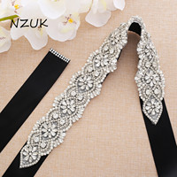 Big Size Wedding Dress Sash Belt With Pearls Silver Crystal Beads Rhinestones Bridal Belt For Wedding Dresses ZZY139S