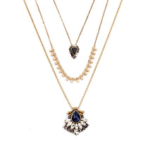 Monarch Convertible Pendant Necklace Inspired Layered Antique Gold + Royal Blue Glass Tonal Crystals Chandeliers N3064