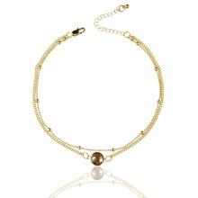 Top Quality Fashion Women Accessories 2 Layers 13 Inch Gold Color Chain Colorful Glass Faceted Pendant Women Necklace Choker