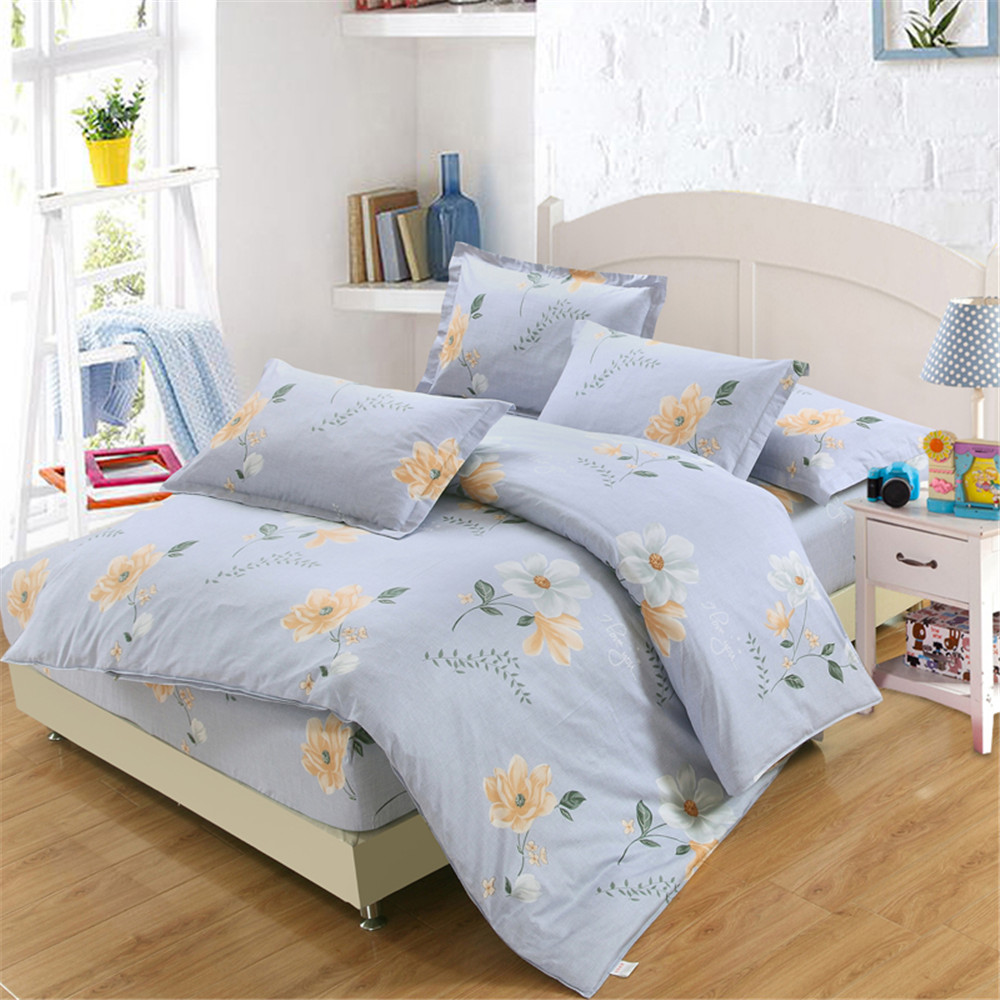 light blue yellow flowers print bedding set rural style bed fitted twin full queen king soft pillowcase duvet cover home textile