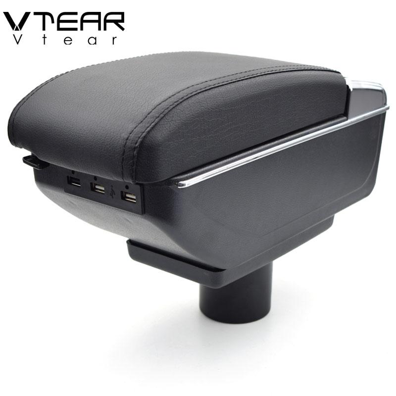 Vtear Per Chery A3 bracciolo box di Ricarica USB intensificare Doppio strato centrale di contenuti Negozio di supporto di tazza posacenere accessori 2007- 2013