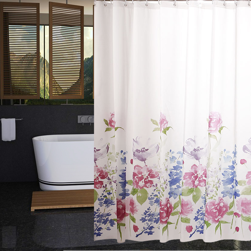 RUBIHOME Shower Curtain For Bathroom PEVA Thicken Waterproof Decor Red Blue  Purple Flowers Green Leaves With Hooks in Shower Curtains from Home    Garden on  RUBIHOME Shower Curtain For Bathroom PEVA Thicken Waterproof Decor  . Red And Blue Shower Curtain. Home Design Ideas