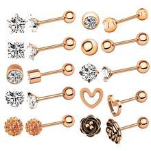 imixlot 10pcs/set Women Beauty Navel Button Rings Stainless Steel Rhinestone Sexy Belly Navel Piercing Ring Body Jewelry цена и фото