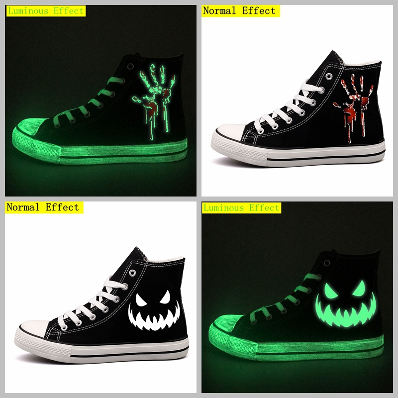 все цены на Customize Horror Halloween Dead Monster Printed Canvas Shoes High Top Luminous Pumpkin Print Men Casual Walking Shoes Espadrille