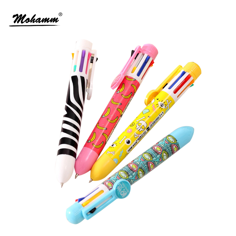 Multi 8 Color In One Set Red Blue Black Ink Ballpoint <font><b>Pen</b></font> For Student Writing School Office Supplies Kawaii Stationery