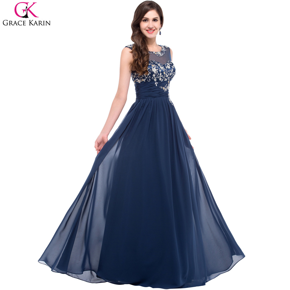 Aliexpress buy long navy blue bridesmaid dresses grace karin aliexpress buy long navy blue bridesmaid dresses grace karin chiffon formal gowns elegant wedding party dress plus size bridesmaids dresses from ombrellifo Image collections