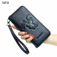 AOEO Wallet Women Genuine Leather Purse Female Long Clutch High Capacity Embossed Coin Purse Card Phone