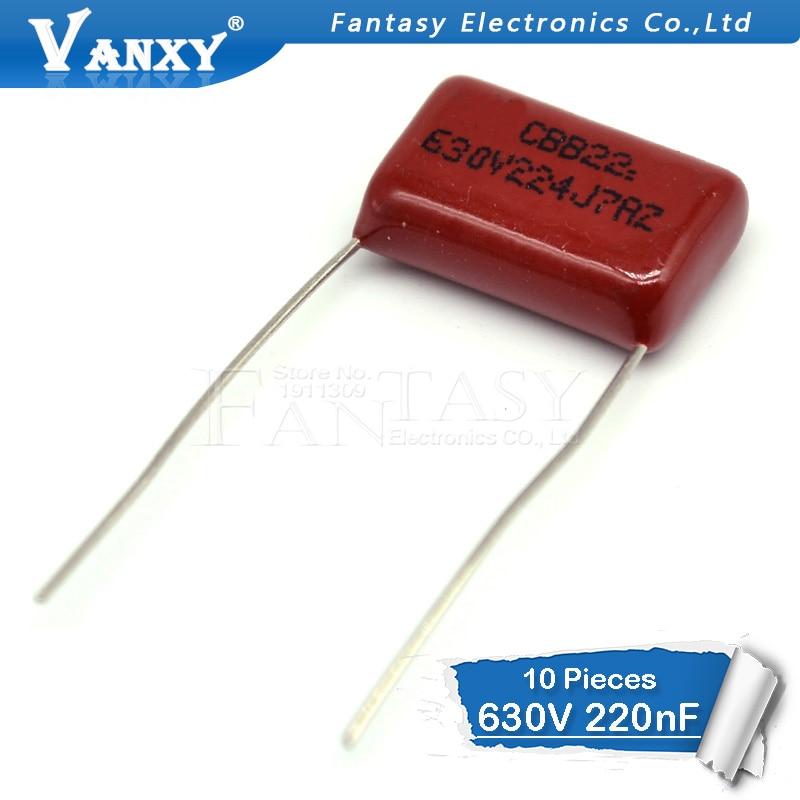 10PCS 630V224J 0.22UF Pitch 15mm 224 630V 220nf CBB Polypropylene Film Capacitor
