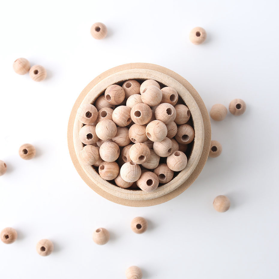 200pcs 10mm Beech Wooden Beads Natural Unpainted Unfinished Raw Round Wooden Toys Teether Baby Nursing Accessories DIY Necklace