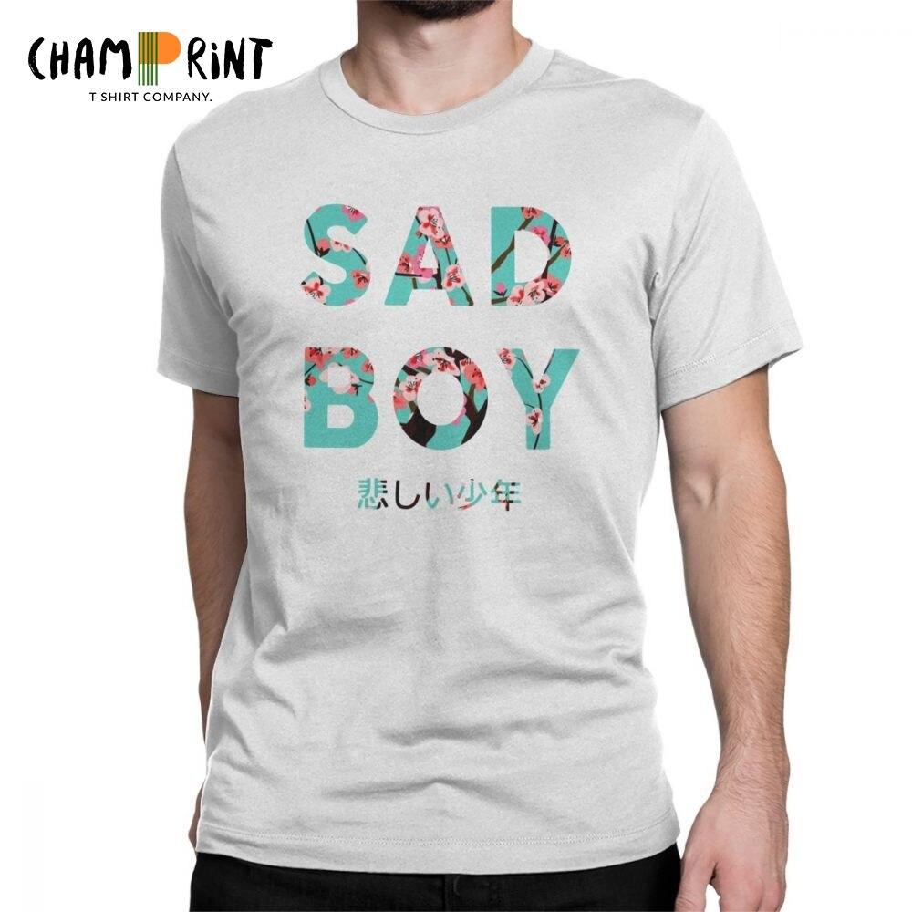 Vaporwave Sad Boy T Shirts For Men Arizona Iced Tea Aesthetic Print Tops Short Sleeve Novelty T-Shirt Crew Neck Pure Cotton Tees