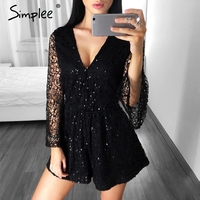 Simplee Sexy Lace Gold Sequin Jumpsuit Romper Women Deep V Neck Hollow Out Overalls Summer 2017