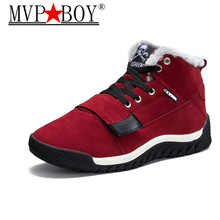 MVP BOY Winter New Arrival Mens Ankle Boots Warm Fur Sneakers Outdoor Athletic Shoe Comfortable Walking Shoes Keep