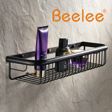 Beelee Modern Wall Mount Solod Brass Shower Basket and Storage Caddy ...