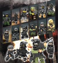 12pcs SWAT The Wraith Assault Minifigures Armas Ghost Commando Building Blocks Army weapon Armed Forces Toy