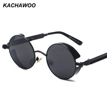 Kachawoo round steampunk sunglasses men vintage glasses steam punk sun glasses for women summer 2018 men gift UV400