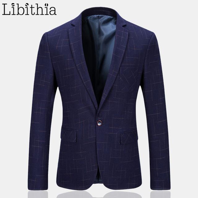 Los Hombres de lujo Clásico A Cuadros Traje Blazers Chaquetas de Calidad Superior de Negocios Trajes Casuales Delgado Traje Chaquetas Y Abrigos de Los Hombres Azules K224