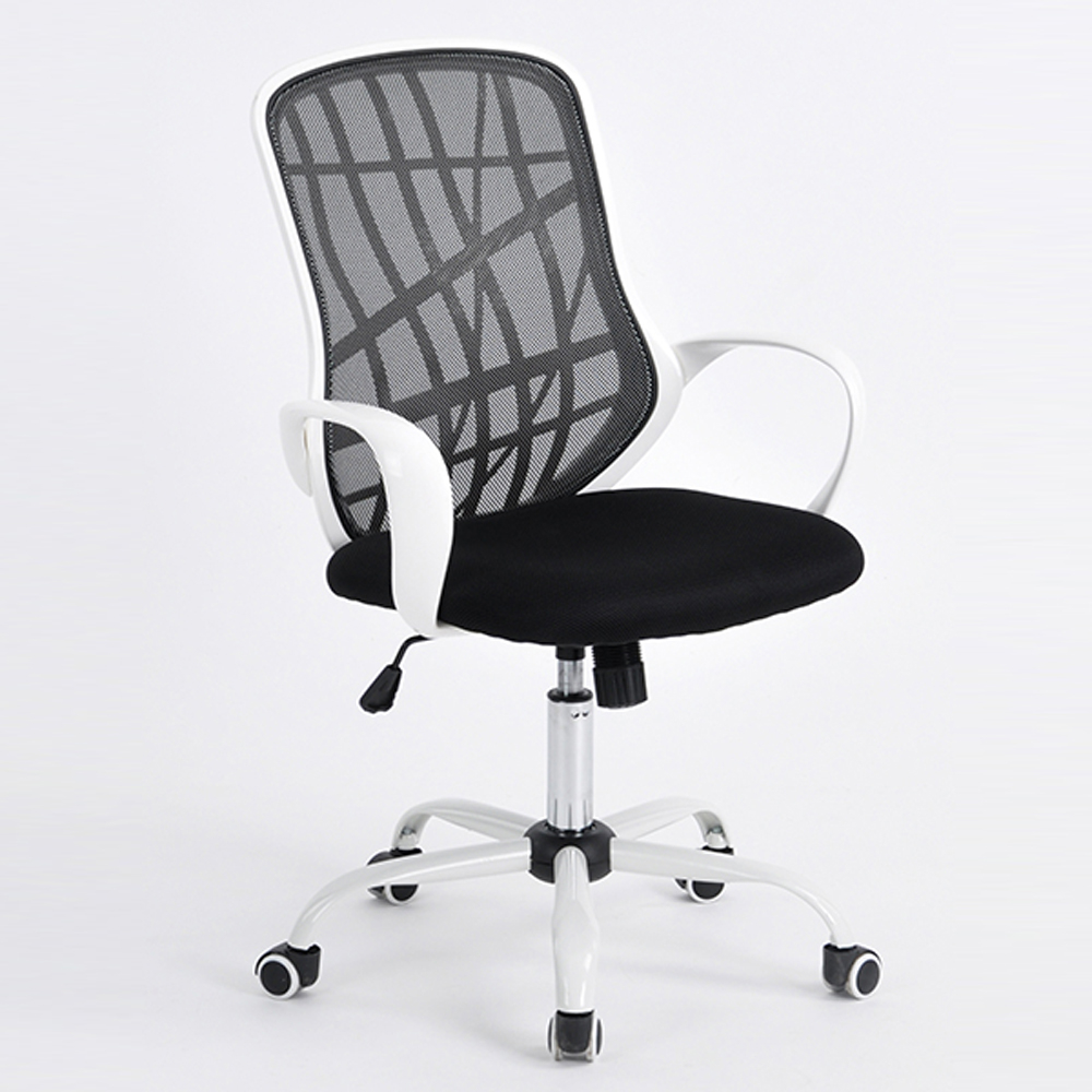 Middle Back White Metal Five Stars Feet Anomaly Grid Office Chair with Shake Black & White five stars пластилин 4 цвета