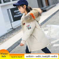 Girls Winter Coat 2018 Big Real Fur Hooded Embroidery Long Parkas for Teenage Girl Kid Girl Winter Jacket 12 years