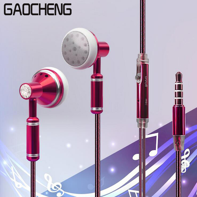 Pink Stereo Headphone In Ear Earphone Metal Handsfree Headset with HD Mic 3 5mm Earbuds For