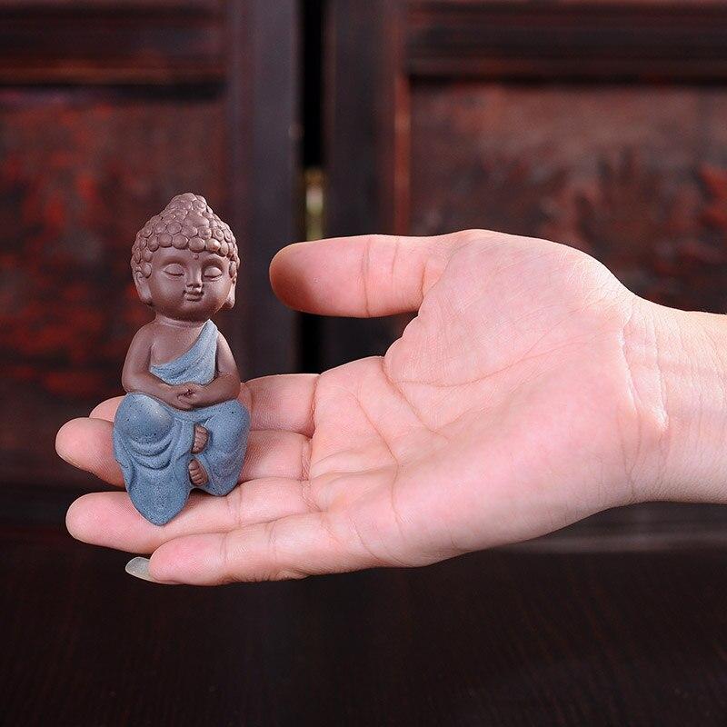 Высококачественный чай с красным песком, креативные керамические украшения для дома, гостиной, Будды, сидя, мини-горшок для цветов, декорати...