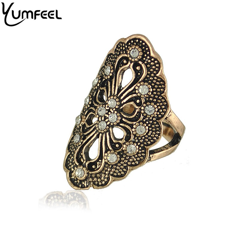 Yumfeel New Vintage Jewelry Crystal Flower Rings Antique Plated Cocktail Rings for Woman