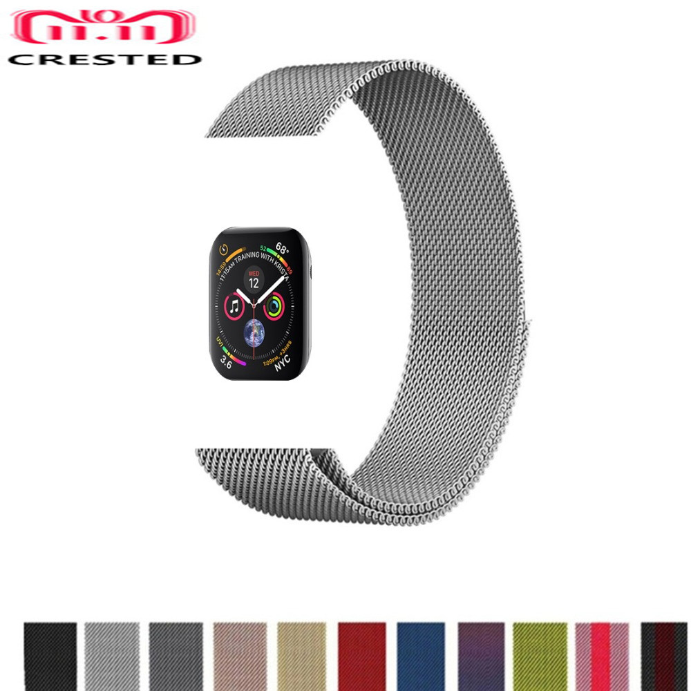 CRESTED Milanese Loop For Apple Watch band series 4 44mm/40mm strap iwatch 3/2/1 42mm/38mm Stainless Steel wris Bracelet belt so buy for apple watch series 3 2 1 watchbands 38mm belt 42mm stainless steel bracelet milanese loop strap for iwatch metal band