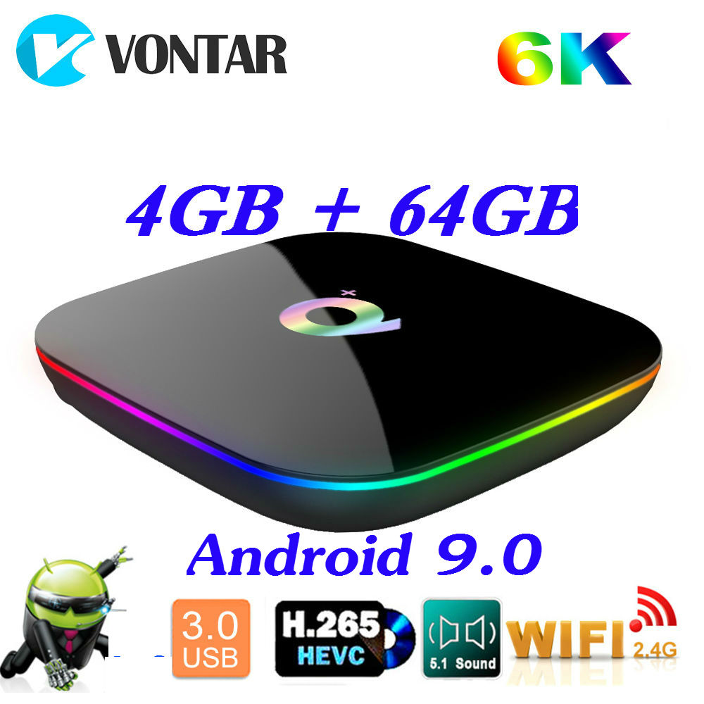 2019 6K caja de TV inteligente Android 9,0 4GB de RAM 64GB ROM Allwinner H6 QuadCore USB3.0 2,4G wifi Youtube Q Plus TVBox reproductor de medios 2G16G