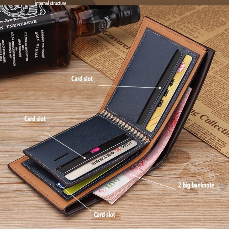 Vintage Men Leather Wallet Short Slim Male Purses Money Credit Card Holders Men Wallet Money Bag T002 Men Men's Bags Men's Wallets