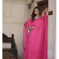 Moroccan Dubai Kaftan Long Sleeve Prom Gowns Hot Pink Evening Dress 2015 Elegant Sexy Chiffon Sequin