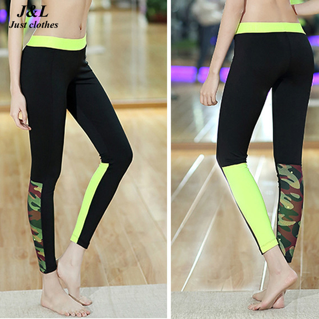 Fluorescent Colors Print Splice Sporting Leggings, Fashion Female Fitness Legging Elastic Slim Sexy Workout Clothes For Women