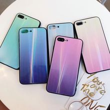 Gradient Aurora Flame Color Tempered Glass Case for iphone 7 8 Plus luxury Laser Back Cover For X XS 6 6S