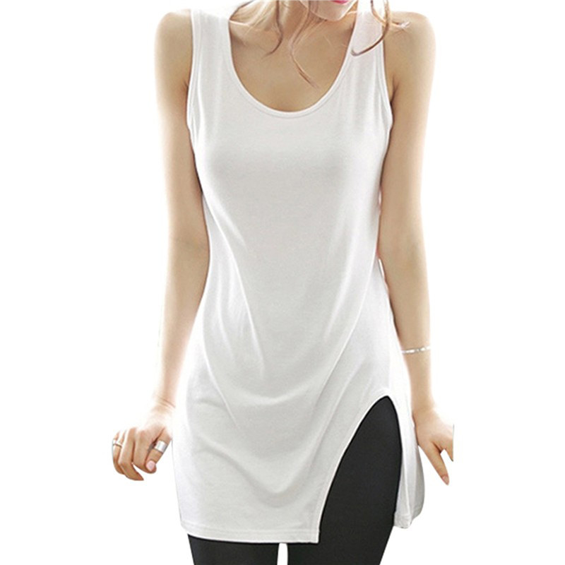 Summer Tank Top Women Sleeveless Side Split Long Vest Cute Ladies White / Black Casual Shirt Women Tops AQ868218