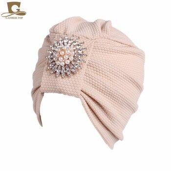 New Womens diamante metal brooch soft chemo Cap Sleep Turban Hat Liner for Cancer Hair Loss hair accessories