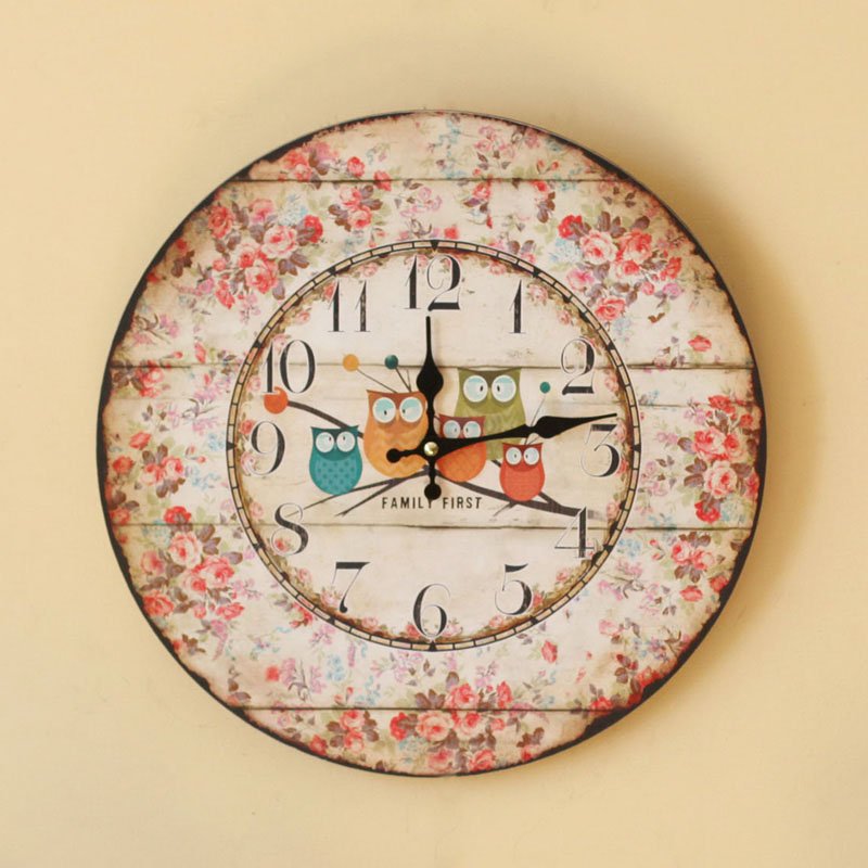Pastoral Style Wood Five Owls Wall Clock Coloured Drawing Family