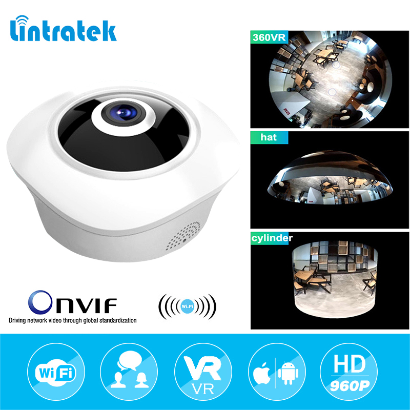 lintratek 960P 1.44mm FishEye 360 angle Panoramic Wifi surveillance camera 1.3MP Network Mini Baby Monitor IR Security IP Cam