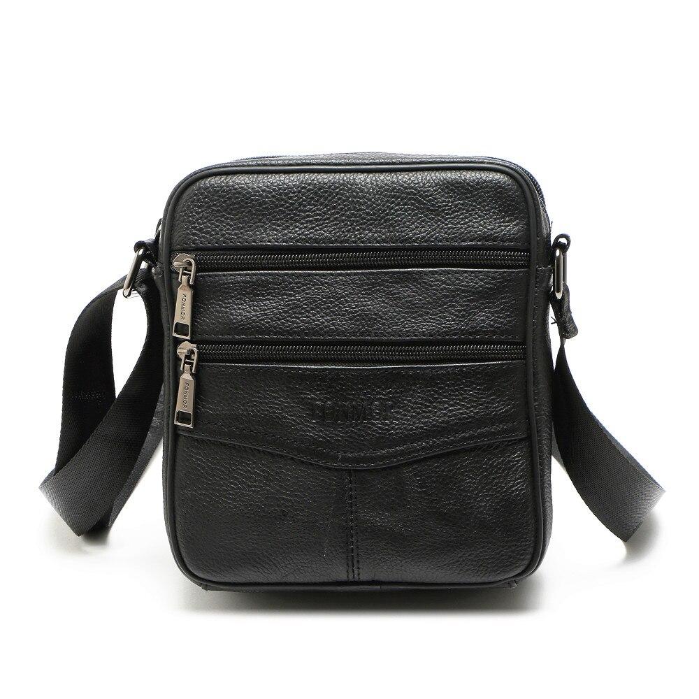 2018 Men Retro New Genius Leather Cowhide Shoulder Crossbody Messenger Business Bag Small Satchel Dark Brown
