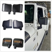For Wrangler Side View Mirrors Housing With Led White DRL Amber Turn Signal Lights For Jeep Wrangler JK Accessories