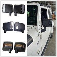 Wrangler için yan görünüm aynalar konut Led beyaz DRL Amber dönüş sinyal ışıkları Jeep Wrangler JK aksesuarları için Jeep Wrangler JK
