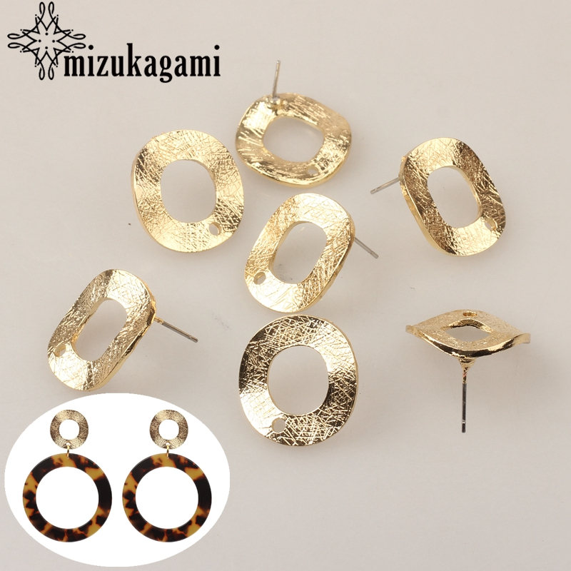 6pcs/lot Zinc Alloy Golden Distorted Round Circle Stud Earring Base Connectors Linker For DIY Earrings Jewelry Accessories