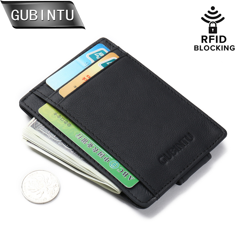 GUBINTU Fesyen Lelaki Magnet Slim Money Clip Credit Card Case Tulen Kulit Pocket Wallet RFID Blocking Purses