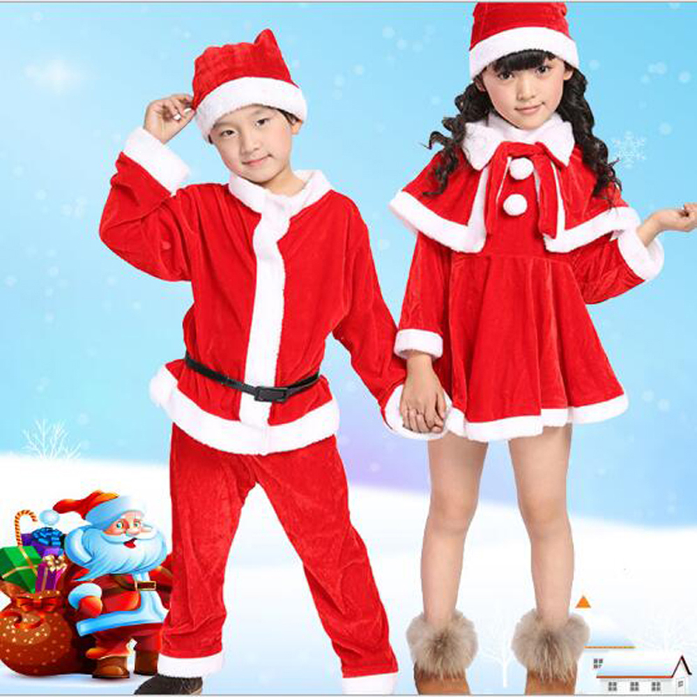 Bazzery Christmas Costumes for Children School Students Stage Performance Santa Claus Clothes Velvet Party Cap Coat Pants Props